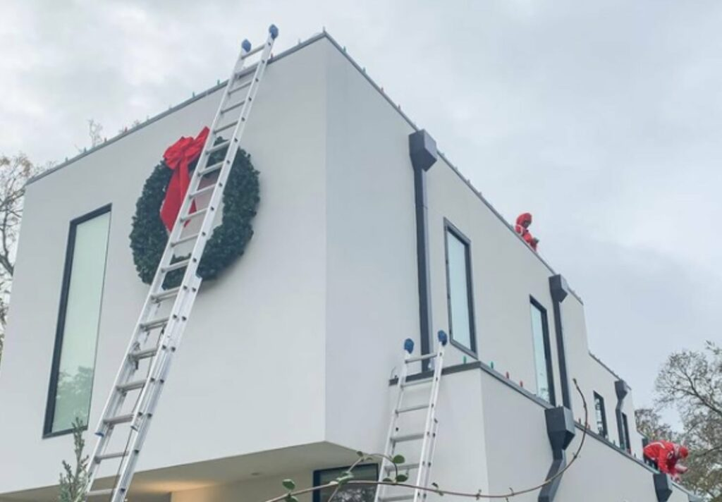 installing lights on a commercial building